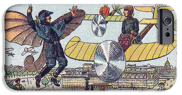Law Enforcement iPhone Cases - Flying Traffic Control, 1900s French iPhone Case by Science Source