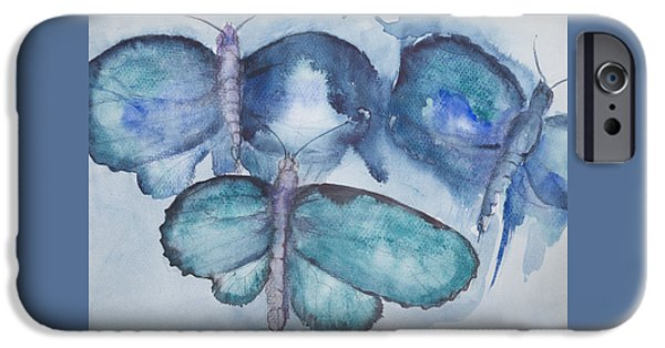 Ww1 iPhone Cases - Flying turquoise butterflies iPhone Case by Briste