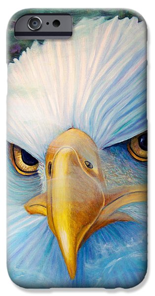 Eagle Paintings iPhone Cases - Focus iPhone Case by Brian  Commerford