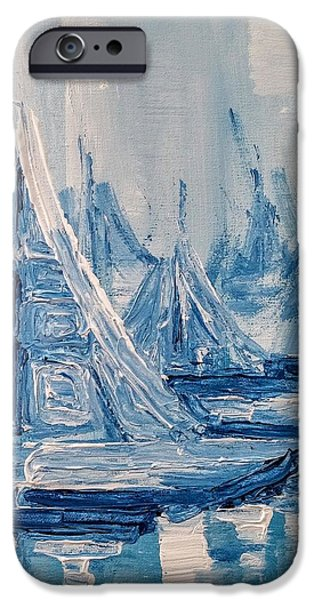 Sailboat Ocean iPhone Cases - Fog and Sails iPhone Case by Jennifer Hotai