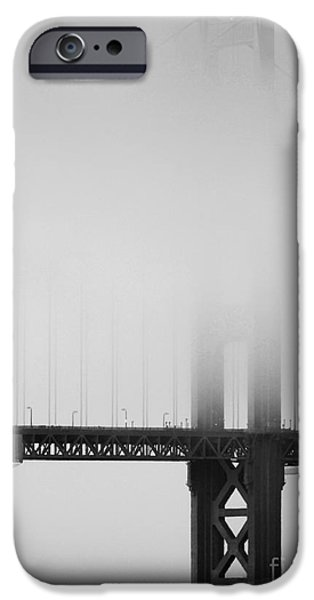 Bay Area iPhone Cases - Fog at the Golden Gate Bridge 4 - Black and White iPhone Case by Wingsdomain Art and Photography