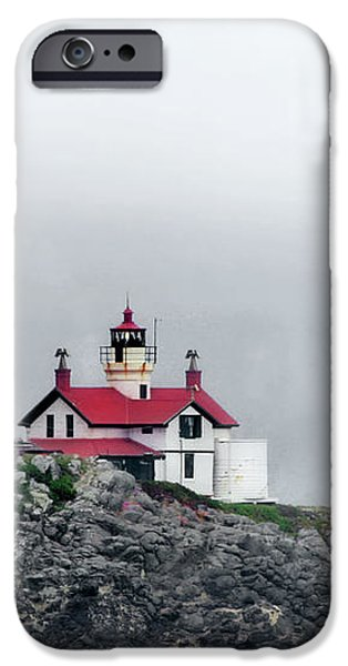 Fog comes rolling in - Battery Point Lighthouse - Crescent City CA iPhone Case by Christine Till