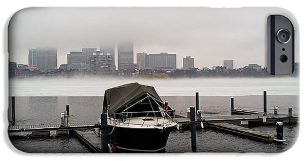Boston Ma iPhone Cases - Fog cover on the Charles River iPhone Case by Toby McGuire