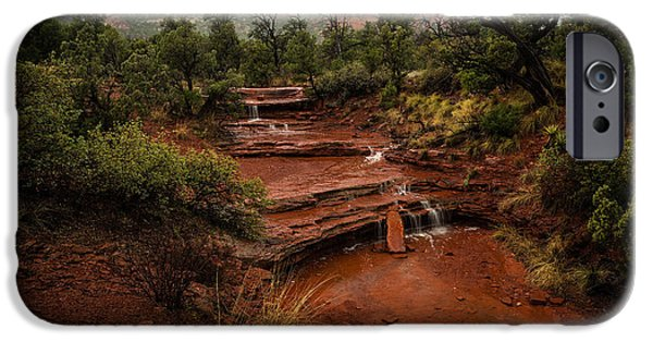 Sedona Pyrography iPhone Cases - Fog in the Mountains iPhone Case by Rick Strobaugh