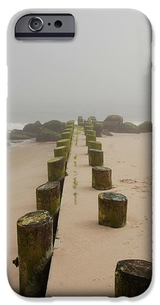 Bay Head Beach iPhone Cases - Fog Sits On Bay Head Beach - Jersey Shore iPhone Case by Angie Tirado