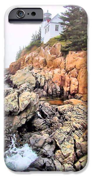 New England Lighthouse iPhone Cases - Foggy Bass Harbor Lighthouse iPhone Case by Elizabeth Dow