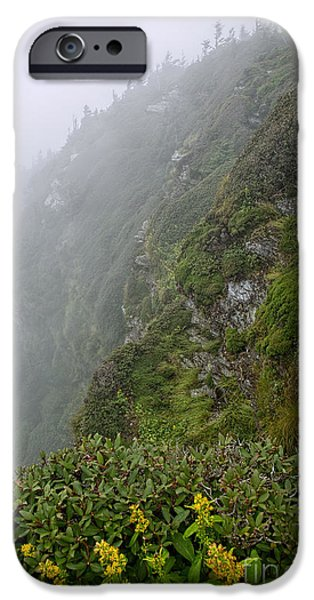 Ledge iPhone Cases - Foggy Cliff Tops iPhone Case by Jemmy Archer