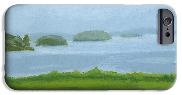 Maine Drawings iPhone Cases - Foggy Eastern Promenade iPhone Case by Dominic White