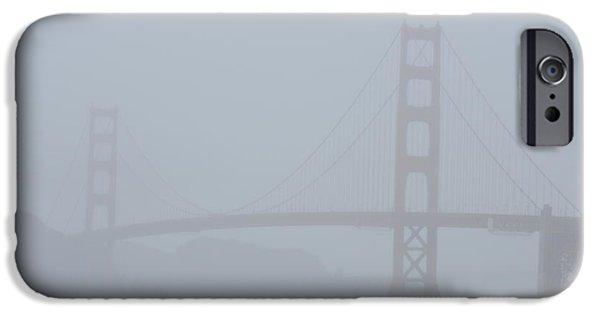 Bay Bridge iPhone Cases - Foggy Foggy Morning iPhone Case by David Bearden