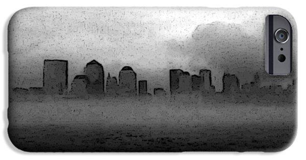 Hudson River iPhone Cases - Foggy Manhatten Black and white iPhone Case by Keshava Shukla