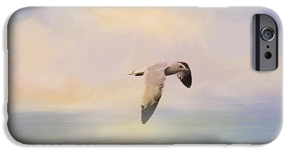Sea Birds iPhone Cases - Foggy Morning At Sea iPhone Case by Jai Johnson