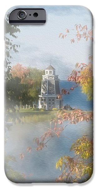 Walker Digital Art iPhone Cases - Foggy Morning at the Lake iPhone Case by John Bailey