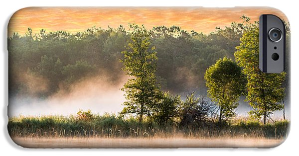 Fog Mist iPhone Cases - Foggy River Sunrise at Boy Lake iPhone Case by Patti Deters