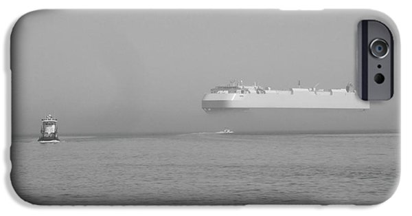 Black And White Reliefs iPhone Cases - Fogs floating barge iPhone Case by WaLdEmAr BoRrErO