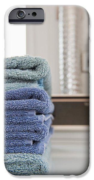 Washing Machine iPhone Cases - Folded Towels on a Dryer iPhone Case by Thom Gourley/Flatbread Images, LLC
