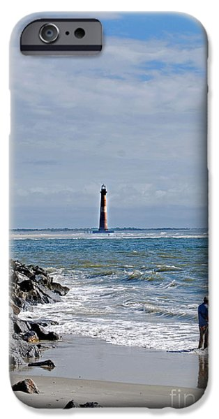 Beach Landscape iPhone Cases - Folly Beach Fisherman Sc iPhone Case by Skip Willits