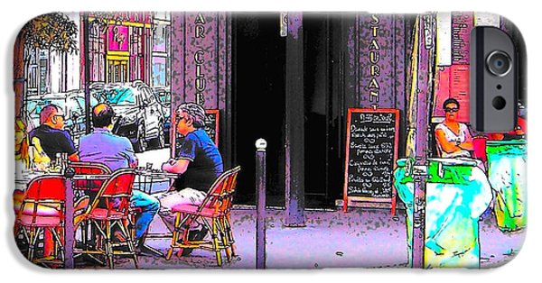 Table Wine iPhone Cases - Folies Cafe Paris iPhone Case by Jan Matson