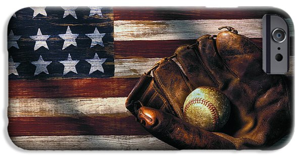 Sports iPhone Cases - Folk art American flag and baseball mitt iPhone Case by Garry Gay