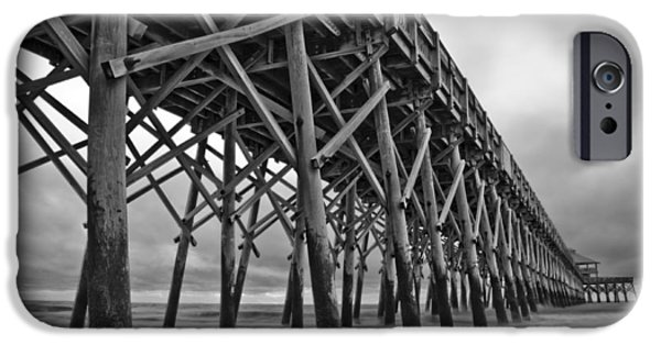 Ocean iPhone Cases - Folly Beach Pier Black and White iPhone Case by Dustin K Ryan
