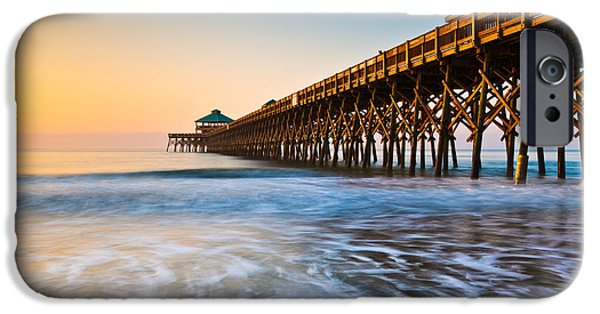 Dave iPhone Cases - Folly Beach Pier Charleston SC Coast Atlantic Ocean Pastel Sunrise iPhone Case by Dave Allen