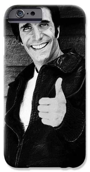 1950s Portraits iPhone Cases - Fonzie Happy Days Black And White Painting iPhone Case by Tony Rubino