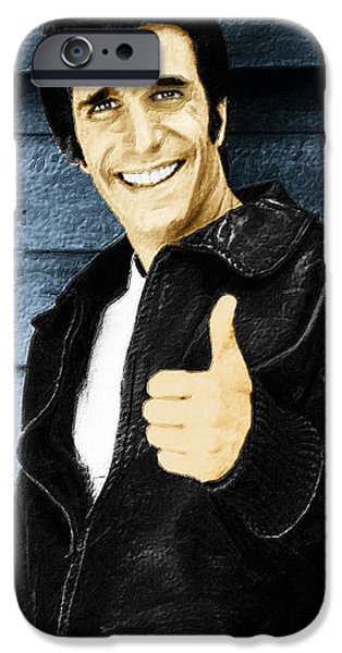 1950s Portraits iPhone Cases - Fonzie Happy Days Painting iPhone Case by Tony Rubino