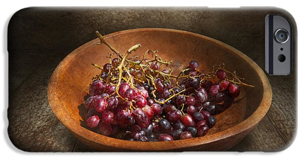 Table Wine iPhone Cases - Food - Grapes - A bowl of grapes  iPhone Case by Mike Savad