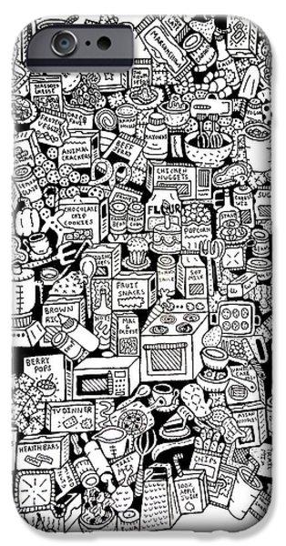 Snack Drawings iPhone Cases - Food Stuff N Things iPhone Case by Chelsea Geldean