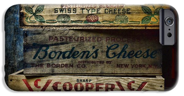 Vintage Wine Lovers Photographs iPhone Cases - Food - Vintage Wooden Cheese Boxes iPhone Case by Paul Ward