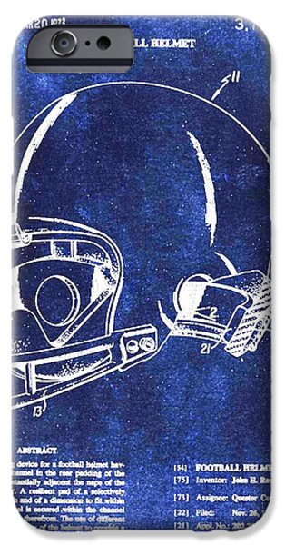 Recently Sold -  - Technical iPhone Cases - Football Helmet Patent Blueprint Drawing iPhone Case by Tony Rubino