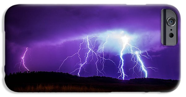 Storm iPhone Cases - Foothills Lightning iPhone Case by Holly O