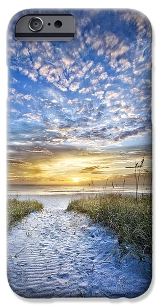 Beach iPhone Cases - Footsteps iPhone Case by Debra and Dave Vanderlaan