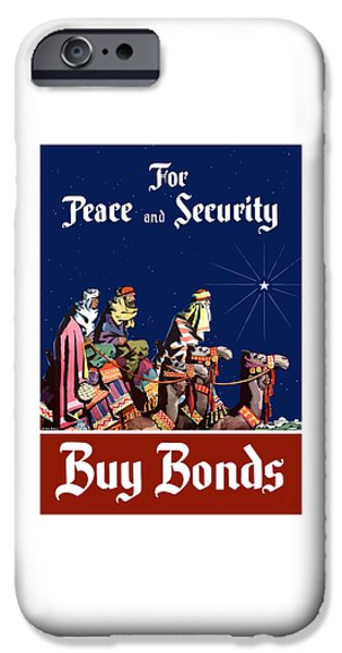 Patriotic Digital iPhone Cases - For Peace and Security - Buy Bonds iPhone Case by War Is Hell Store