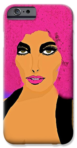 Michelle iPhone Cases - Pink Afro for Michelle iPhone Case by Saundra Myles
