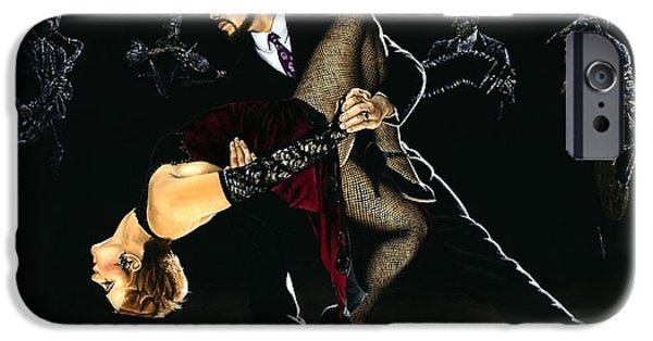 Silk Paintings iPhone Cases - For the Love of Tango iPhone Case by Richard Young