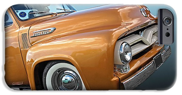 Old Cars iPhone Cases - Ford F100 1955 in Bronze iPhone Case by Gill Billington