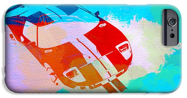 Vintage Car iPhone Cases - Ford GT Watercolor  iPhone Case by Naxart Studio