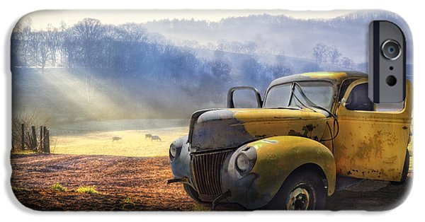 Farm iPhone Cases - Ford in the Fog iPhone Case by Debra and Dave Vanderlaan