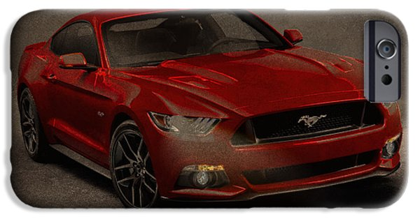 Charcoal Mixed Media iPhone Cases - Ford Mustang 2015 Watercolor Pencil Charcoal Sketch on Worn Distressed Canvas iPhone Case by Design Turnpike