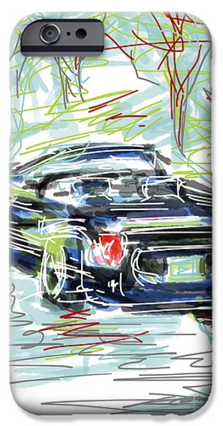 Abstract Digital Drawings iPhone Cases - Ford Thunderbird Convertible iPhone Case by Robert Yaeger