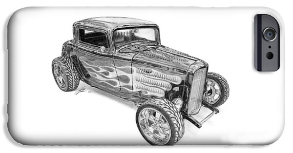 American Cars Drawings iPhone Cases - Ford V8 Roadster Custom 1932 iPhone Case by Gabor Vida