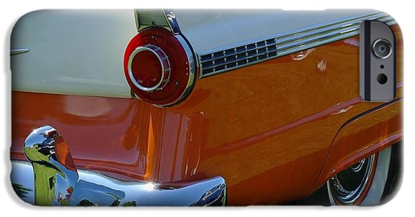 Automotive Pyrography iPhone Cases - Ford Victoria 1956 iPhone Case by Claude Prud