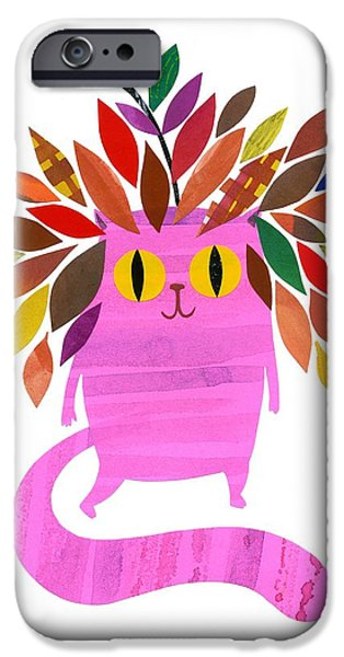 Little Mixed Media iPhone Cases - Forest Cat iPhone Case by Anne Vasko