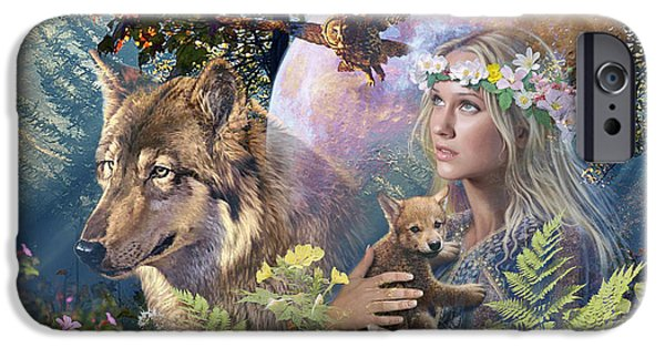 Wolf Digital Art iPhone Cases - Forest Friends 2 iPhone Case by Steve Read