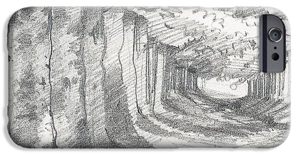 Forest Drawings iPhone Cases - Forest lane at Gournay iPhone Case by Claude Monet