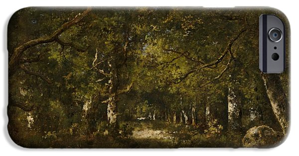 Garden Scene Paintings iPhone Cases - Forest Scene iPhone Case by Narcisse Diaz De La Pena