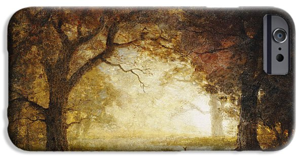 Fawn iPhone Cases - Forest Sunrise iPhone Case by Albert Bierstadt