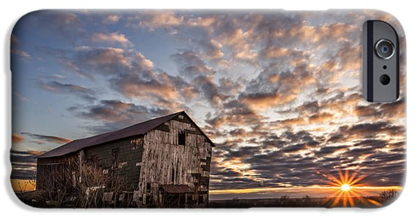 Old Barn iPhone Cases - Forgotten Dreams on Pickup Hill iPhone Case by Chris Bordeleau