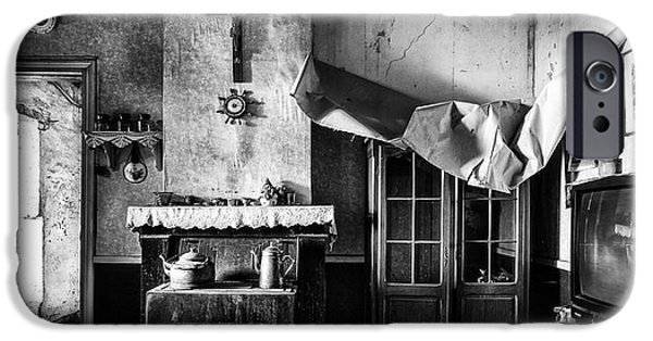 Haunted House iPhone Cases - Forgotten Living Room - Abandoned House Interior iPhone Case by Dirk Ercken