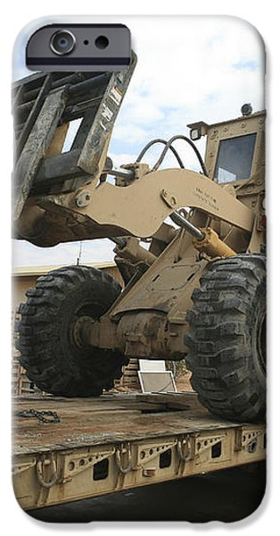 Forklift Is Unloaded Off Of A Logistics iPhone Case by Stocktrek Images